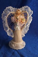 Beautiful Abaca Cone Angel handcrafted w/Lace & Fabric Flowers
