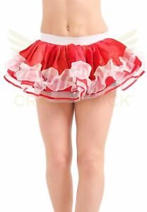 Women Red & White Satin Ruffle TUTU Skirt Xmas Christmas Fancy Dress Party