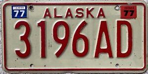 1977  Alaska American License Licence USA Number Plate 3196AD