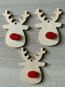 10 x RUDOLPH n54 REINDEER + RED NOSE  BLANK WOODEN SHAPE CHRISTMAS TREE TAG