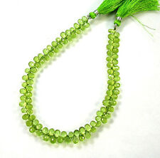 "PERIDOT faceted drop briolette beads AAA 6-6.5mm 9"" strand"