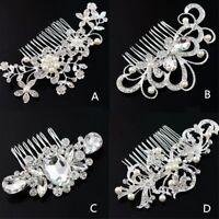 Women Wedding Bride Bling Rhinestone Crystal Pearl Hair Comb head piece Pin Clip