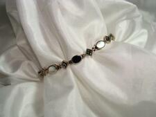 "NWOT STERLING SILVER 7"" ONYX MARCASITE & MOTHER OF PEARL BRACELET~FREE US SHIP"