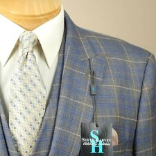 52R STEVE HARVEY 3 Piece Grey & Blue Check Suit - 52 Regular - SB16