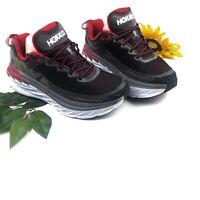 Hoka One One Running Shoe Mens Size 9 Training Sneakers Black Red Gray Bondi 5