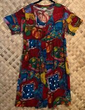 TROPIC MOON MADE IN HALEIWA HAWAII BUTTON FRONT RAYON PRINT DRESS SIZE SMALL