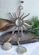 schöne große Sonne Halskette + Ohrringe Katzenauge Weiß Silber  *Set*