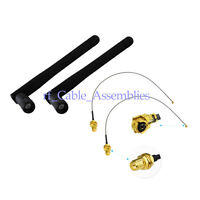 2PC/Set 3dBi 2.4GHz Wifi Antenna Wireless Router Omni RP-SMA Male IPX U.fl Cable