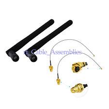 2PC/Set 3dBi 2.4GHz Wifi Antenna Wireless Router Omni RP-SMA Male IPX U.fl Cable