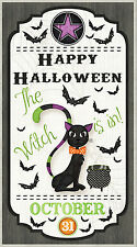 "Halloween Black Cat Bat Cotton Fabric Wilmington Every Witch Way ~ 24""X44"" PANEL"