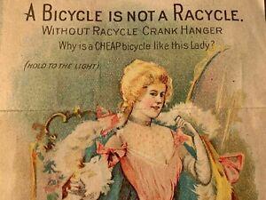 "Vintage Racycle Bike Advertising ~ Racy "" Hold to Light"" Advertising"