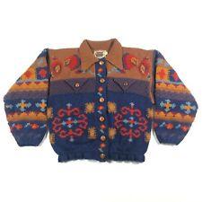 Womens 1 S Suzanne Galat for Aficionado Hand Knit Cardigan Sweater Shaman Voodoo