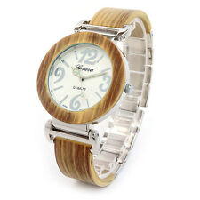 Wooden Silver Large face Luminous Hands Geneva Bracelet Wood Watch