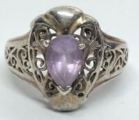 Vintage Sterling Silver Ring 925 Size 8 Amethyst