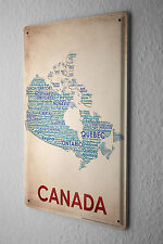 Tin Sign World Trip  Map of Canada Decorative Wall Plate