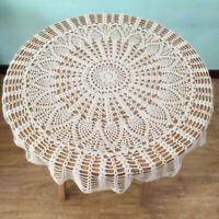 "31"" Vintage style Crochet Cotton Lace Round Table Cloth Topper Floral Doily"