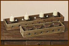 SHABBY CHIC - KERZENLEUCHTER Schale Vintage Landhausstil Holz 80 cm br.*NEU*