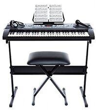 Portable Digital Keyboard with Stand Bench Speakers Headphones Mic USB Set Black