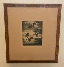 Original Hans Kleiber Signed Sporting Art Ducks Etching - Stormy Evening