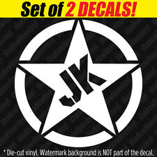 JK Army Star Vinyl Decal Sticker Willys Fits: Jeep Wrangler Sport Sahara Rubicon