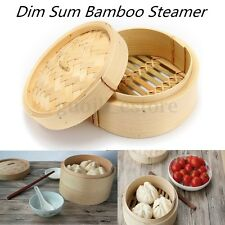 "6"" Inch Bamboo Steamer Chinese Sum Dim Basket Rice Pasta Cooker Set with Lid"