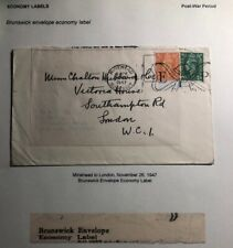 1947 Minehead England Brunswick Envelope War Economy Label Cover To London
