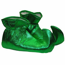 Shiny Green Elf Shoes Curly Toe Santa Helper Xmas Costume Accessory Adult 1 Size