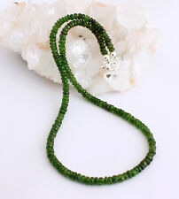 Edle Chromdiopsid Kette Edelsteinkette Facettierte Grün Collier Russland Silber