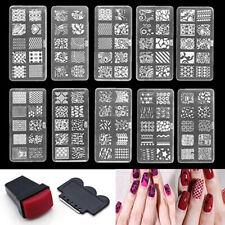 Plantilla de Estampado para Arte de Uñas Sello Placa de plantilla Set Herramienta Stamper Kit de diseño caliente