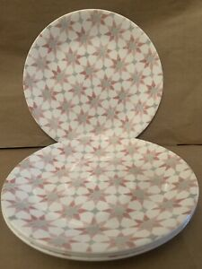 """Corelle Amalfi Rosa 8.5"""" Salad  Round Plates Set of Four Muted Red"""