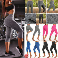 Women Yoga Pants Athletic Stretch Fitness Workout Gym Capri Leggings With Pocket