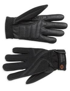 Harley-Davidson Women's AIRFLOW Black Leather Mesh Motorcycle Riding Gloves XL