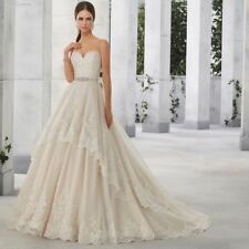 Beading Organza A-line Strapless Wedding Dresses