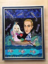 Vintage Abstract European Acrylic Painting Romantic Love Couple In Boat Unique