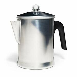 Heavy Duty Stove Top Percolator Coffee Pot Maker Aluminum Steel 9-Cup