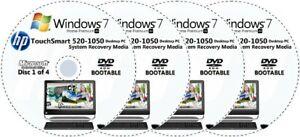 HP TouchSmart 520-1050 Factory Recovery Media 4-Discs Set / Windows 7 Home 64bit