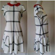 Collar Check Mini Sleeveless Dresses for Women