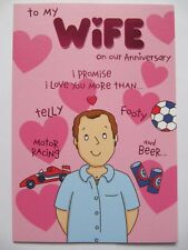 FUNNY I LOVE YOU MORE THAN TELLY FOOTY & BEER WIFE ANNIVERSARY GREETING CARD