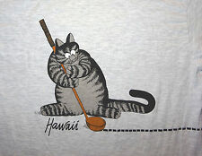 1980s B Kliban Cat Mouse Golf Light Gray Hawaii T-Shirt Size Large Crazy Shirts