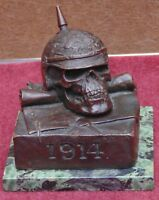 très rare ancien bronze tête de mort casque a pointe guerre 1914 signé + fondeur