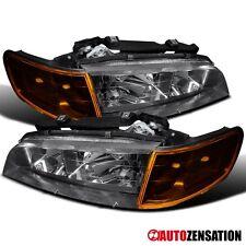 For 94-97 Honda Accord Black Clear Headlights Amber Corner Parking Lamp Signal