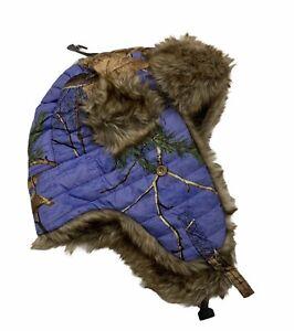 Realtree Hot Shot Blue Camo Thinsulate Trapper Hat Women's Sz M L Adult Faux Fur