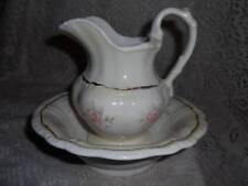 Vintage Hand-Painted Porcelain Pink Roses Vanity Pitcher & WashBowl Basin Set