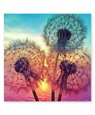 Diamond Puzzle Blue and Pink Dandelion Sky Painting Bead Crafting Kit, Brand New