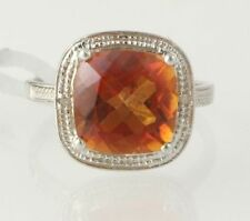 NEW Azotic Topaz Cocktail Ring - Sterling Silver Diamond Genuine Women's 6.93ctw