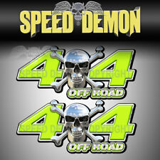 4x4 OFF ROAD Chrome Skull Green Truck Graphic Decal SD104OR4