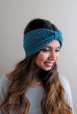 Turban Knit Head Wrap Ear warmer Texture Headband Boho head Wrap Teal