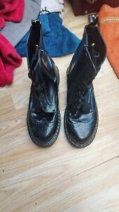 Ladies Black Patent Brouge Dr Martens Style Boots 7 (40)