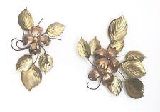 Vintage Gold Metal Leaves Leaf Flower Wall Sculptures Hanging 2 piece 1970s MCM