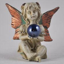 Mini Forest Fairy Sitting Glass Ball Sculpture Copper Wing White Magic 39757